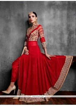 Mystic Red Georgette Anarkali Salwar Kameez