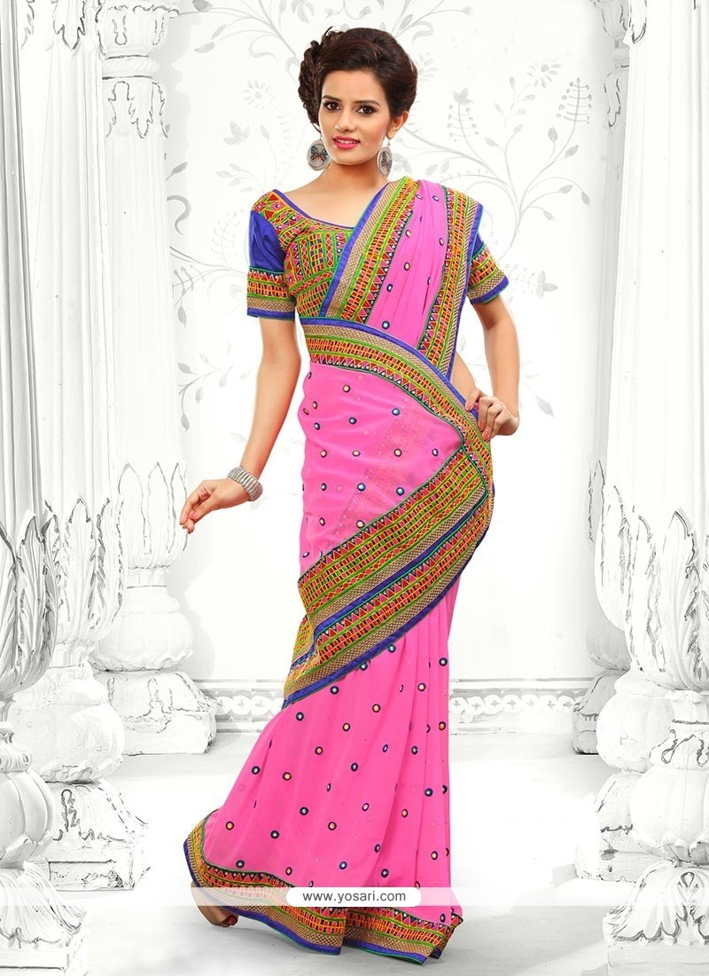 Mesmeric Pink Faux Georgette Saree