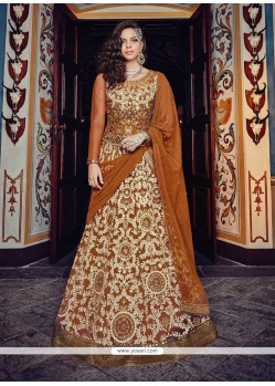 Marvelous Net Brown A Line Lehenga Choli