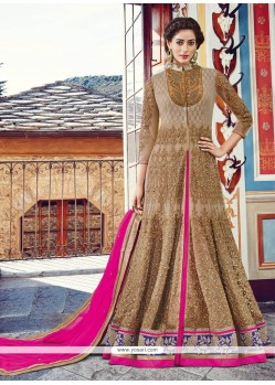 Magnificent Net Beige And Hot Pink A Line Lehenga Choli