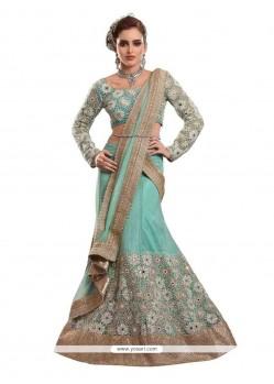 Elegant Net Turquoise A Line Lehenga Choli