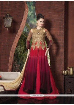 Maroon Patch Border Work A Line Lehenga Choli