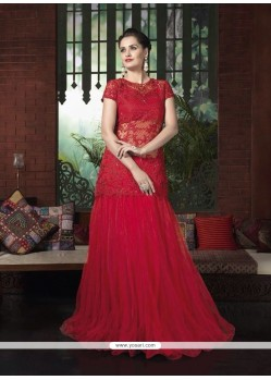 Affectionate Net Red Resham Work A Line Lehenga Choli