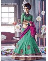 Royal Sea Green Patch Border Work Net A Line Lehenga Choli