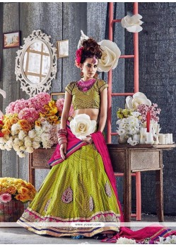 Adorable Embroidered Work Green A Line Lehenga Choli
