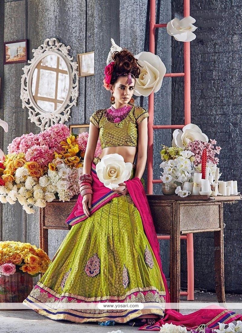 Adorable Embroidered Work Green A Line Lehenga Choli