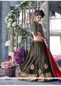 Enchanting Net Black A Line Lehenga Choli