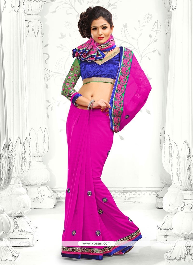 Incredible Magenta Georgette Saree