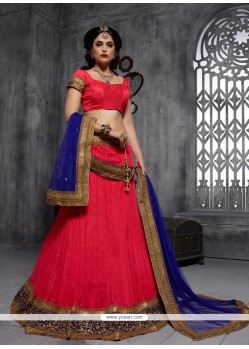 Outstanding Net Embroidered Work A Line Lehenga Choli