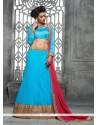 Blooming Net Turquoise A Line Lehenga Choli