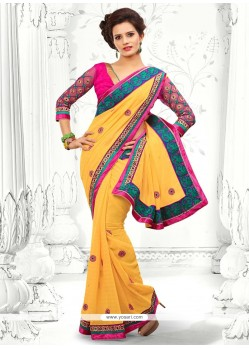 Awesome Yellow Georgette Saree