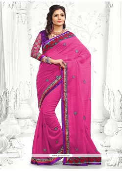 Gorgeous Pink Faux Georgette Saree