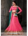 Lurid Pink Net A Line Lehenga Choli