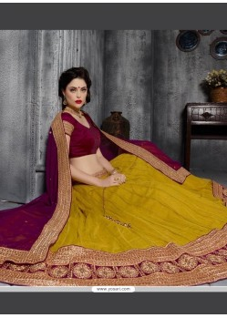 Vibrant Net Patch Border Work A Line Lehenga Choli
