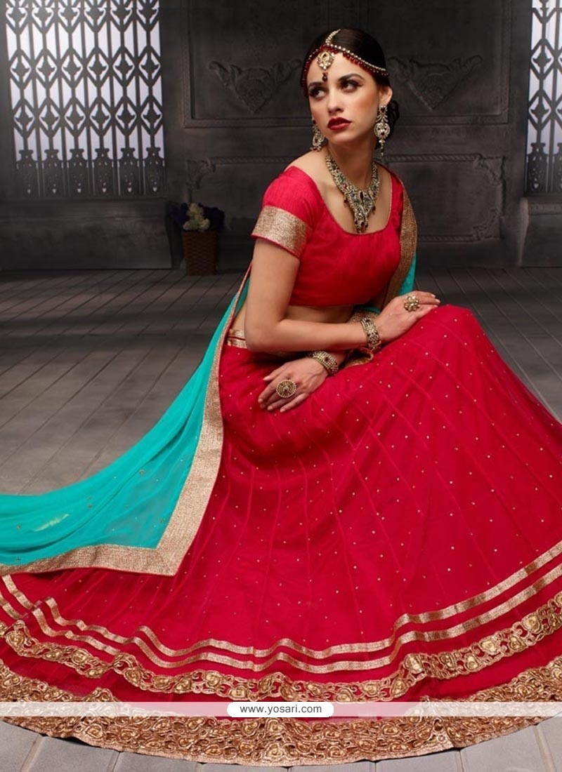 Eye-catchy Art Dupion Silk Magenta A Line Lehenga Choli