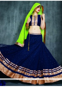 Navy Blue Patch Border Work A Line Lehenga Choli