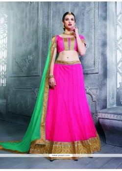 Awesome Net Hot Pink Patch Border Work A Line Lehenga Choli