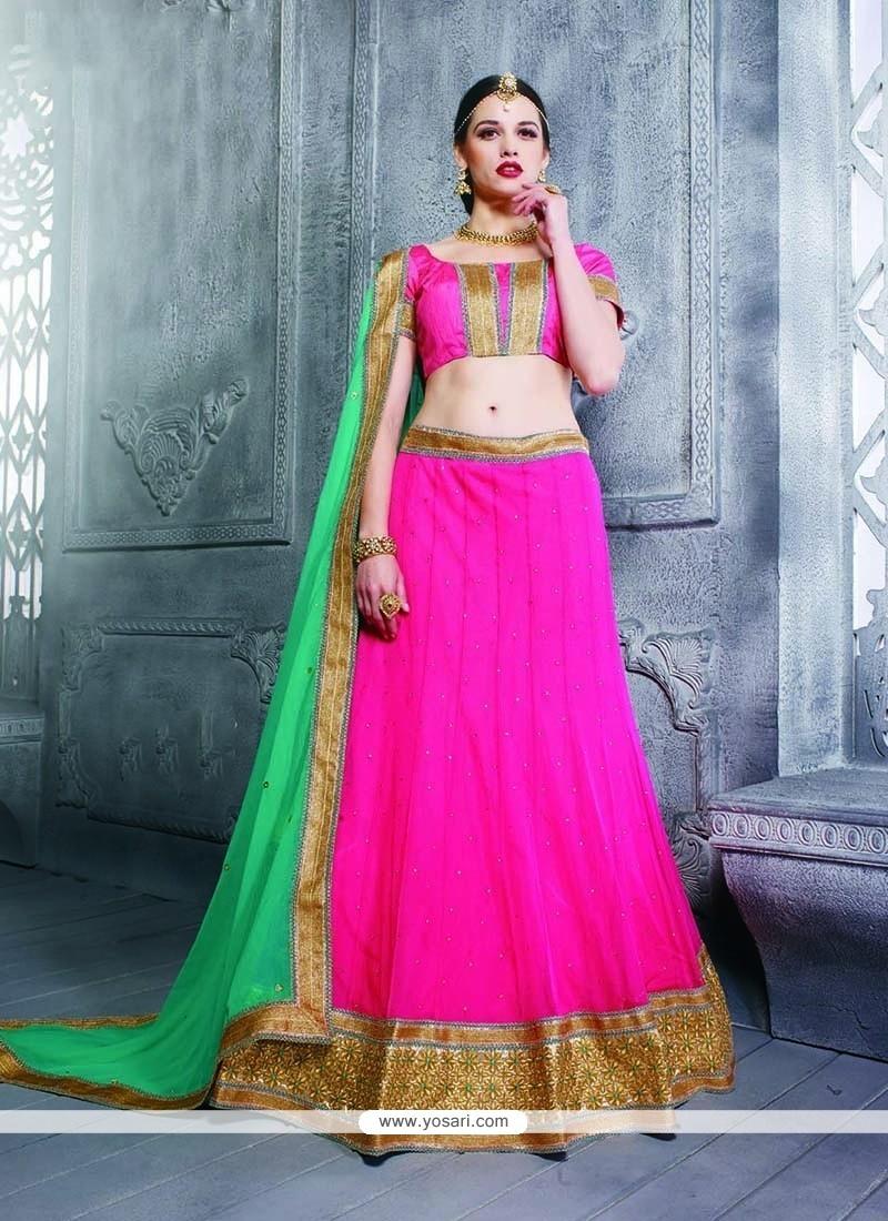 Awesome Net Hot Pink Patch Border Work A Line Lehenga Choli