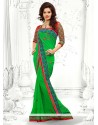 Glowing Green Georgette Designer Saree