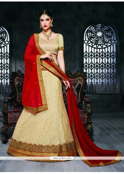 Mystic Net Beige Patch Border Work A Line Lehenga Choli