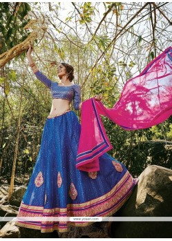 Chic Net Blue Patch Border Work A Line Lehenga Choli