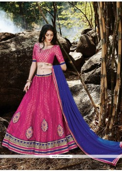 Radiant Hot Pink Patch Border Work A Line Lehenga Choli
