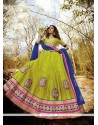 Tempting Net Embroidered Work A Line Lehenga Choli