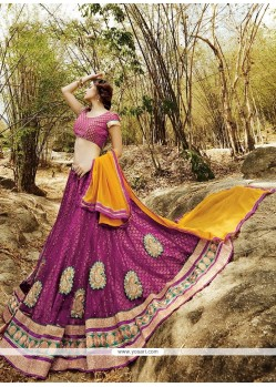 Phenomenal Wine Net A Line Lehenga Choli