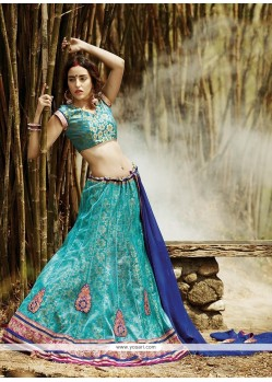 Desirable Sea Green Net A Line Lehenga Choli
