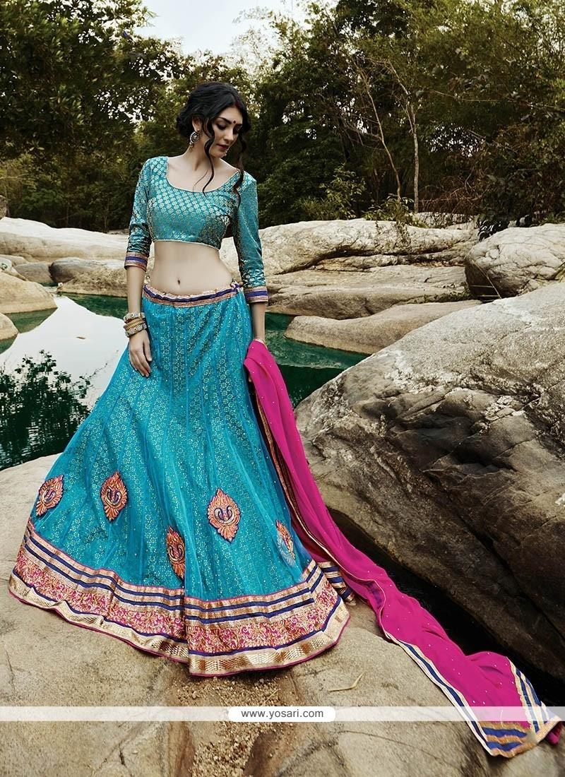 Transcendent Turquoise A Line Lehenga Choli