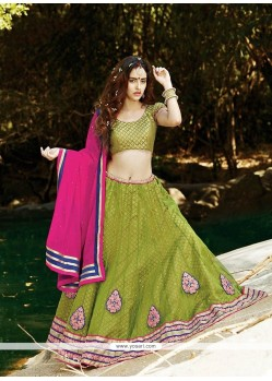 Sonorous Patch Border Work Net A Line Lehenga Choli