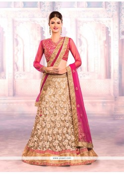 Mod Beige And Pink A Line Lehenga Choli