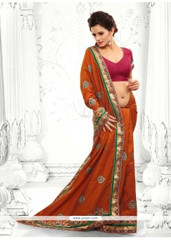 Girlish Rust Zari Work Saree