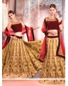 Glowing Net Beige And Maroon Embroidered Work A Line Lehenga Choli