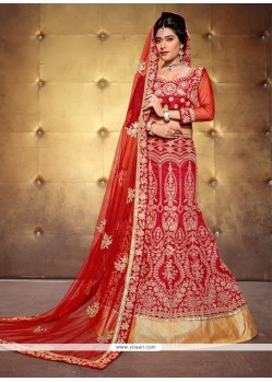 Thrilling Red Patch Border Work Banglori Silk A Line Lehenga Choli