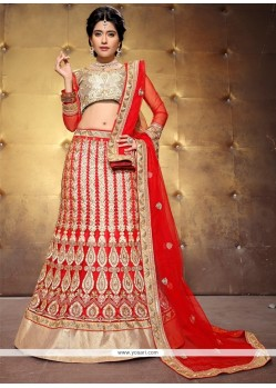 Winsome Patch Border Work A Line Lehenga Choli