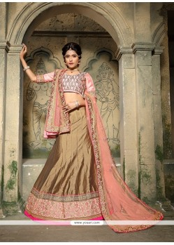 Pleasing Silk Embroidered Work A Line Lehenga Choli