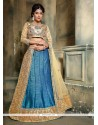 Immaculate Blue Patch Border Work Banglori Silk A Line Lehenga Choli