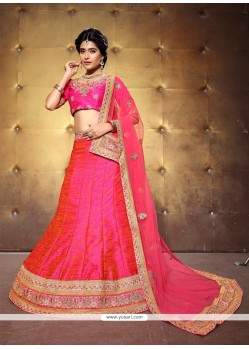 Excellent Banglori Silk Patch Border Work A Line Lehenga Choli