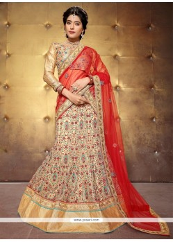 Divine Net Beige Patch Border Work A Line Lehenga Choli