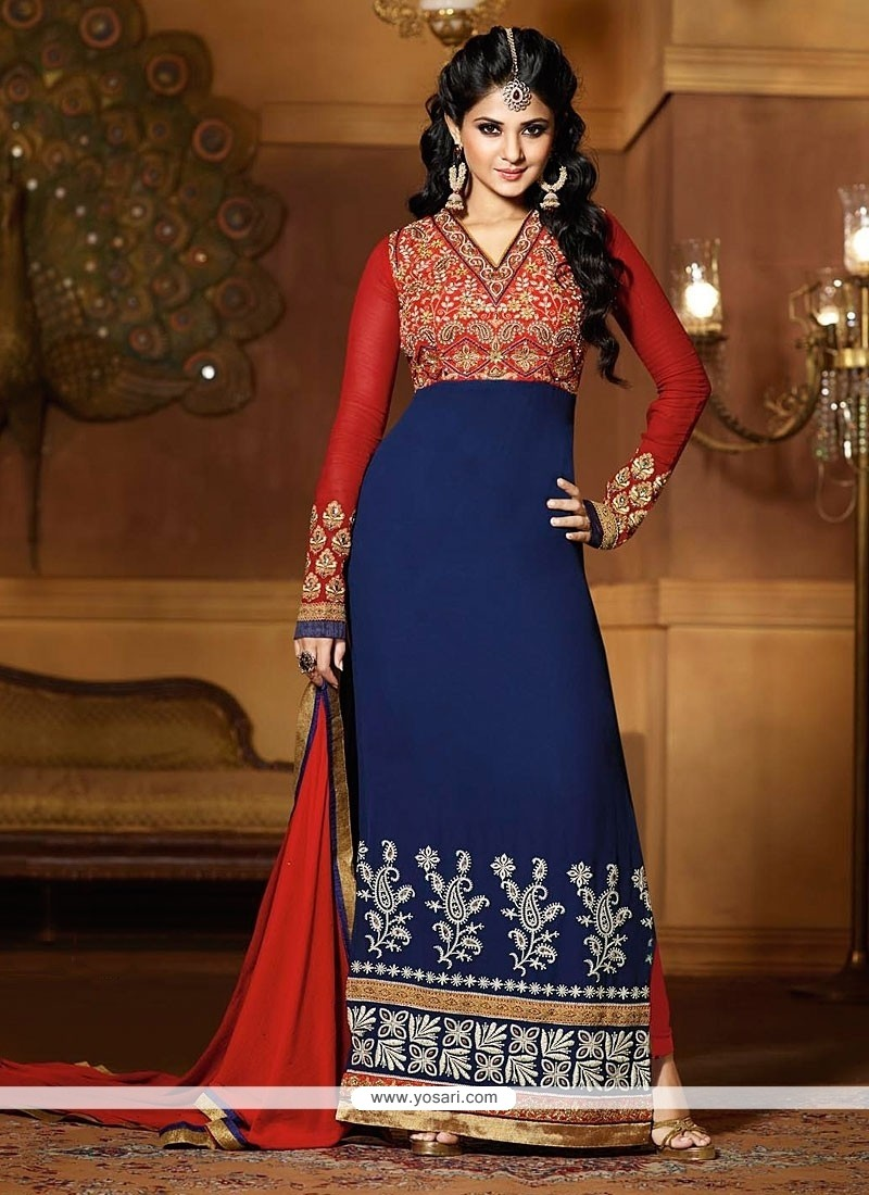 Jenifer Winget Red And Blue Georgette Churidar Suit