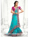 Flawless Blue Stone Work Designer Saree