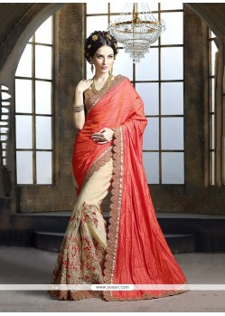 Enchanting Embroidered Work Beige Classic Designer Saree