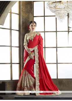 Imposing Embroidered Work Red Tussar Silk Classic Designer Saree