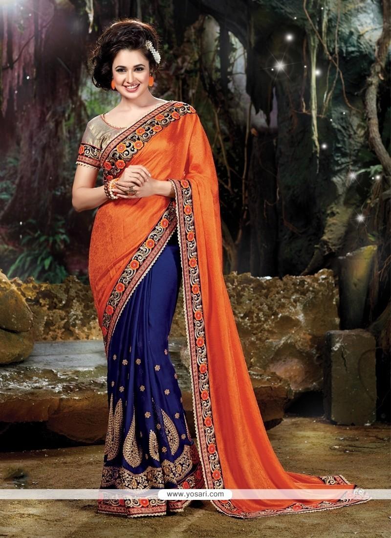 Sightly Satin Navy Blue And Orange Classic Designer Saree