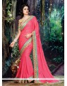 Lavish Satin Rose Pink Embroidered Work Classic Designer Saree