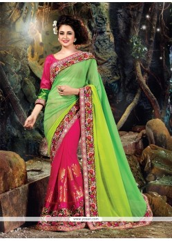 Majesty Green And Hot Pink Classic Designer Saree