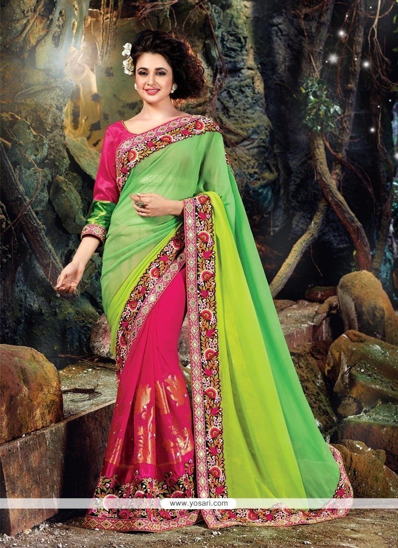 b805370ba51 Shop online Majesty Green and Hot Pink Classic Designer Saree