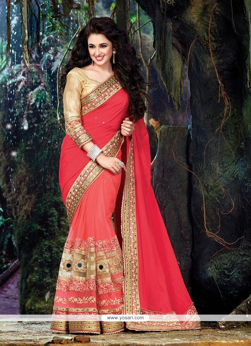 Praiseworthy Net Red Classic Designer Saree