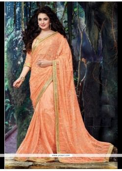 Embroidered Net Classic Designer Saree In Peach